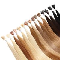 1 g de pelo de punta de palo al por mayor-Colorido Pre-bonded Stick I Tip Extensiones de Cabello Humano 18 20 22inch 1g / Strands 400st Lot Prebonded hair, free DHL