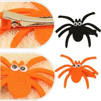 Wholesale handmade felt clips for sale - Group buy brand new Halloween Funny Hair Clips Felt Spider Headwear Handmade Hairpins For Kids Party Hair Accessories