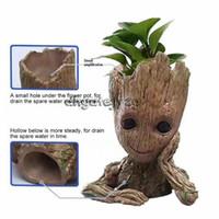 ingrosso doni di piante sveglie-14 centimetri Vaso di fiori Baby Groot Flowerpot Cute Toy Penna Pot Holder PVC Hero Modello Baby Tree Man Garden Plant Pot miglior regalo