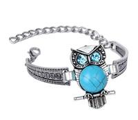bracelet hibou de style vintage achat en gros de-Vintage Tibétain Bracelet En Argent Turquoise Hibou De Style De Mode Chaîne Bracelet Femmes Fille Bijoux avec fermoir Homard