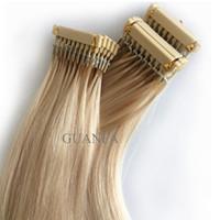 28 zoll blonde erweiterungen großhandel-Jungfrau-Haar-Erweiterungen 6D blonde 613 # Farbe 14 Zoll bis 30 Zoll europäische menschliche Haar-Erweiterungen Neue Ankunft
