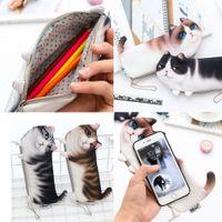 kalem kalem cüzdanları toptan satış-kızlar Kadınlar Kızlar Çanta Cüzdan Kalem Çanta Kılıf Depolama çanta için 3D Hayvan Sevimli Kedi Yüz Fermuar Vaka Para kalem kutuları