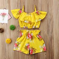 ingrosso le bambine estive vestono-Toddler Baby Kid Girl Abiti floreali Little Girls Strap Vest Top + Shorts 2Pcs Set abbigliamento 1-6T Abiti estivi