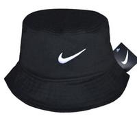 sombrero de cubo liso al por mayor-Al por mayor-2019 Venta caliente de moda Camping Senderismo Caza Pesca al aire libre Bob algodón liso en blanco Negro Bucket Hat Cap Hip Hop Hombres Mujeres hueso