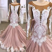 Wholesale lace bodice mermaid train prom dresses for sale - Group buy 2020 Prom Dresses Mermaid Long Sleeves with Beads Lace Applique Sweep Train Illusion Bodice Evening Gowns Formal Wear vestido