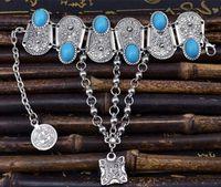 münzen armbänder frauen großhandel-Mode Boutique Vintage Silber eingelegten blauen Harz Perlen Anhänger Armband Münze Ring Armband Frauen Geschenk