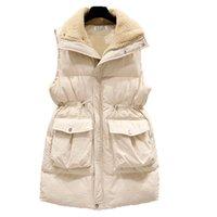 casacos de mulheres de moda de inverno coreano venda por atacado-Inverno longo mangas Vest Coats Mulheres lã quente fino de algodão acolchoado Jacket Coletes coreano Moda Zipper Jacket Mulher Colete