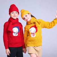 ingrosso ragazzi maglia maglione modello-Maglione per le ragazze Pullover invernale Abbigliamento per bambini Neonato Maglione a maniche lunghe lavorato a maglia caldo Abbigliamento bambini Top Tee