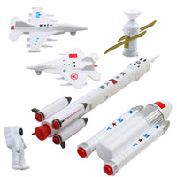 Wholesale 7Set Space Exploration Rocket Manned Space Flight Simulation Spaceman Satellite Model Toys Fighter Early Education