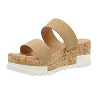 Wholesale flatform sandals for sale - Group buy Women Flatform Slippers Summer Sandals Solid Slip On Open Toe Sandals Female Beach Slip On Espadrille Flatform Sandal