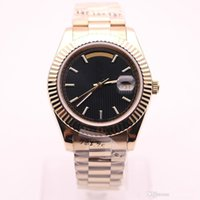 Wholesale luxury men s watch auto for sale - Group buy Classic Men S Automatic Movement Sports Watch k Gold Case Strap mm Black Stripes Dial Stainless Steel Sapphireglass Mens Watch