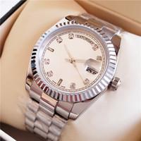 часы для женщин серебристый оптовых-Женские часы Silver Stainess Roman Num с бриллиантами Женские часы Sweep Автоматическое движение Механическая DayDate Сапфировая застежка