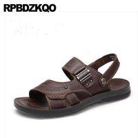 tamanhos japoneses da sapata venda por atacado-Slides de couro Sandálias Moda Verão Nativa Tamanho 47 Japonês Grande Ao Ar Livre Grande Marrom Sapatos de Grife Homens Chinelos de Alta Qualidade