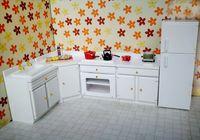 reforço de móveis venda por atacado-G05-X5135 dom crianças Toy 1:12 Dollhouse mini móveis Miniature rement acessórios Cozinha branca set com conjunto de geladeira