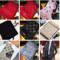 Wholesale shining scarves for sale - Group buy Brand Winter LOGOMANIA SHINE Scarf High Quality Wool Silk Scarf Women and Men Two Side Black Red Silk Wool Long Scarfs Flower Scarves Shawls
