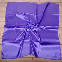 comprar lenços de seda venda por atacado-Atacado-cachecol mulheres 2015 primavera cor sólida lenço de seda de cetim cachecol quadrado grande 90 * 90 cm cachecol bandana xale hijab mini-ordem $ 6