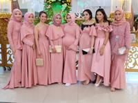 islamische kleider hijab großhandel-2019 Muslim Brautjungfernkleider Serie Hijab Islamische Dubai Prom Party Kleider Plus Größe Garten Land Trauzeugin Hochzeitsgast Kleid
