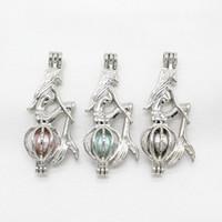 gümüş denizkızı takılar toptan satış-10 adet Gümüş Efsanevi Mermaid İnci Kafes Takı Yapımı Kolye Parfüm Uçucu Yağ Difüzörü Kafes Lockets Kolye Charms
