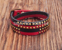 Wholesale punk studded bracelet resale online - Red Black Double Wrap Leather Wristbands Bracelet Cuff Punk Lined Studded New Mens