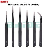 Wholesale repair electronics resale online - Yellow Package ESD With Thicken Black Anti static Coating Tweezers For Phone Electronic Repair Tools