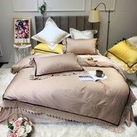 Wholesale pink ruffles lace bedding sets resale online - 42 Pc Lace Ruffle Duvet Cover Set Egyptian Cotton King Size Queen Solid Rich Solid color Bedding Set Bed sheet Pillowcase