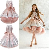 Wholesale black feathered tutu resale online - Shiny Sequins Flower Girls Dresses Sleeveless Tulle Tiered TuTu Girls Pageant Gowns Gorgeous Puffy Prom Dresses45645