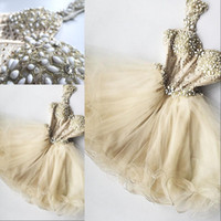 Wholesale cute dresses for 16 for sale - Group buy Chic Champagne Beaded Tulle Cocktail Dresses Dress For Graduation Appliques Ruffles Sexy Cute Formal Party Dress Crystal