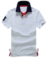 polo blue sports al por mayor-Marca EE. UU. Hombres Polos Sólidos Big Pony Impreso Número 3 en Manga Algodón Sport Polo Shirts Business Casual Camiseta Top Blanco Azul Marino