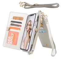 billetera de tarjeta de crédito al por mayor-iPhone XR Wallet Case, Imikoko iPhone XR Wallet Funda de cuero con ranura para tarjeta de crédito Slot Crossbody Chain Zipper Pocket Purse Wrist Handbag S