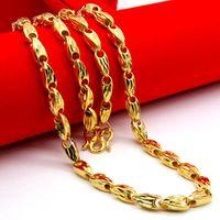 collar de cadena de oro amarillo al por mayor-Collar de cadena de trigo tallado de moda Collar de hip hop lleno de oro amarillo Collar para hombre Cadena de color dorado fresco