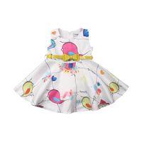 vestido de desfile de niñas 5t al por mayor-2019 Pudcoco 1-5T Toddler Baby Girls Carton Bird Dress Princesa Fiesta Pageant Dress Sundress