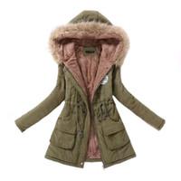 parka militar de mujeres al por mayor-Parka para mujer casual Outwear Otoño Invierno militar chaqueta con capucha de la capa del invierno piel de las mujeres de las mujeres abrigos chaquetas y abrigos de invierno