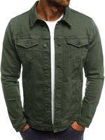 vestes longues en denim pour hommes achat en gros de-Designer Automne Mens Denim Veste Laperl manches longues couleur unie Homme Manteaux Mode Homme Vêtements Procket