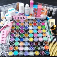 Wholesale powder acrylic colors for nails for sale - Group buy 72 Colors Acrylic Glitter Powder Kit All For Manicure Acrylic Nail Kit Brush For Nail Pusher Varnish Semi Permanant Uv Set
