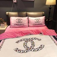 ingrosso set di copertina della principessa-Set di biancheria da letto principessa rosa carina Completo da letto di moda per adulti Designer Trapunta 4 pezzi stile moderno Copripiumino