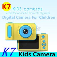 Wholesale lithium batteries for digital cameras resale online - K7 Kids Camera Mini Digital Camera Cute Cartoon Cam Toddler Toys Children Birthday Gift big Screen Cam for take pictures Cheap