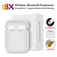 écouteurs bluetooth achat en gros de-I8X Bluetooth Casque Casque Chargeur Boîte In-Ear Invisible Écouteurs Sans Fil Écouteur Musique Mic Casque Pour iOS android