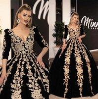 línea árabe vestidos de fiesta al por mayor-Árabe vestidos de noche apliques de encaje de oro 3/4 manga larga acanalada una línea de partido formal Vestidos de baile Vestidos de Fiesta