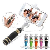selbststichhalter großhandel-Handheld Selfie Stick verdrahtet ausziehbares Einbeinstativ Remote Shutter Holder Smartphone