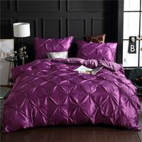 Wholesale purple twin bedding set online - Purple Luxury Washed Silk Duvet Cover Set Set Super Soft Pinch Pleat Brief Bedding Sets Queen King Size