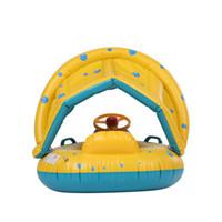 cavaleiros do bebê venda por atacado-Nflatable Macio Anel de Natação Do Bebê Piscina Piloto Barco Flutuador com Dossel Sol Destacável Sombra de brinquedo para o Infante Da Criança Criança Crianças