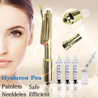 Wholesale free syringes needles resale online - 0 ml K Golden hyaluron pen hyaluronic injection pen hyaluron atomizer wrinkle removal water syringe needle free injection needless