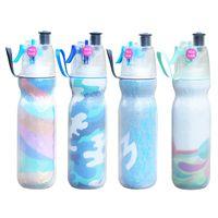 enfriador de agua deportivo al por mayor-Botella de agua de spray de 590 ml Botella de agua para beber en bicicleta Botella de agua de verano Enfriamiento al aire libre Camping Gimnasio Deportes Doble capa Sist Mist FFA2062