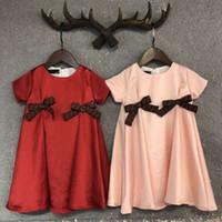 meninas seda vestidos mangas venda por atacado-Meninas de Verão Vestido de Seda Letras de Moda Camisa de Manga Longa Vestido de Princesa Vestido Xadrez Venda Quente de Algodão T-Shirt de Manga Curta Casual camisa