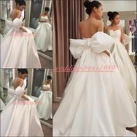 Wholesale big white bride dress for sale - Group buy Unique Designer Newest White Sweetheart Wedding Dresses With Big Bow Satin Plus Size Cheap vestido de noiva Bridal Gown Ball Bride