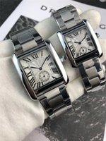 relógios de luxo de luxo venda por atacado-Venda quente de Aço Inoxidável Qualidade Homens Mulheres Moda Relógio de Luxo Relógio de Marca de Designers de Marca Tanque de Luxo Casual Vestido de Relógio de Presente de Quartzo Relógio