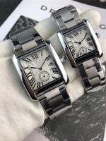 diseñadores de marcas de lujo relojes al por mayor-Venta caliente Calidad de Acero Inoxidable Hombres Mujeres Moda Reloj de Lujo Diseñadores de Marca de Lujo Tanque Reloj Vestido Casual Pareja Reloj de Regalo Reloj de Cuarzo