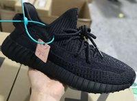 zapatos oscuros oscuros del resplandor al por mayor-2019 arcilla Estático Resplandor en la oscuridad Forma verdadera Hiperespacio inferior de basf real Zapatillas de deporte Kanye West para correr con caja