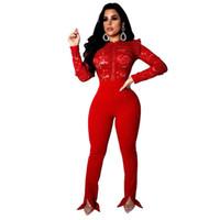 rot sehen durch hose großhandel-Sexy Rote Spitze Overall Frauen Lange Ärmel Hohe Taille Durchsichtig Volle Bodysuit Lange Strampler Hosen Dünne Elegante Abend Jumpsuits