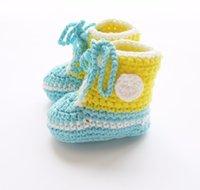häkeln baby booties monate groihandel-Baby Slippers Handhäkelarbeit Neugeborene Krippe Schuhe Babyschuhe für 0-12 Monate